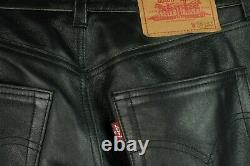 Rare Levi Leather Jeans Style Low Rise Pants Trousers Black Sz 28x32 Motorcycle