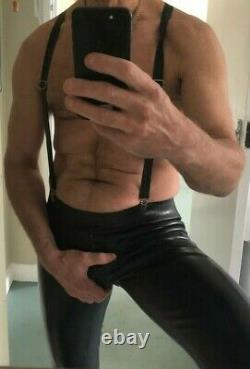 Regulation Rubber Thru Zip Skinhead Jeans with Rubber Braces Fetish Gay Interest