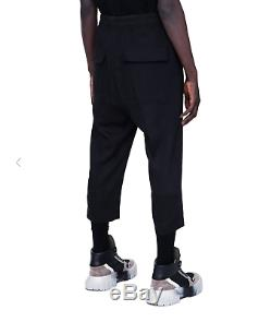 Rick Owens Fw19 Larry Drawstring Astaires Cropped Trousers Black Wool Pants New