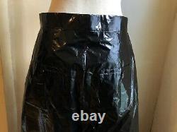 Rick Owens Runway Light Black Patent Cotton Wide Leg Pant Trouser 48 32