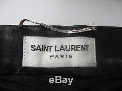 SAINT LAURENT PARIS A/W2014 BLACK LEATHER STUDDET PANTS WITH LACE byHEDI SLIMANE