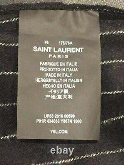 SAINT LAURENT Trousers pinstripe black white flared wool pants yves YSL