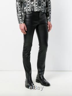 Saint Laurent Paris Black Lamb Leather Skinny Pants Jeans Slim 46 48 30 32 New