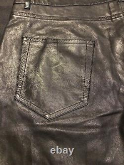 Saint Laurent Sz 54 38 Leather Mens Skinny Trousers Pants Hedi Slimane Authentic