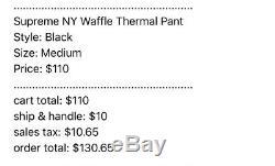 Supreme NY Waffle Thermal Pant Black Size Medium BRAND NEW