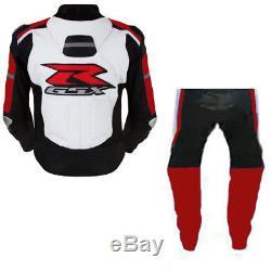 Suzuki Gsxr Racing Motorcycle Leather Suit Mens Motorbike Leather Jacket Trouser