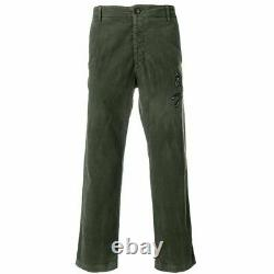 Sz L 38 NEW $1250 GUCCI Men's Green BLACK WOLF LOGO Patch Cord Cropped PANTS NWT