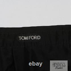 TOM FORD Tuxedo Trousers 36x31 Adjustable in Black Wool-Mohair Flat Front ITALY
