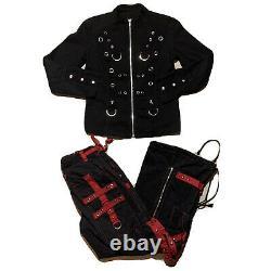 TRIPP NYC Skull Chain Bondage Rave Goth Black Red Pants & Jacket SET Vintage 90s