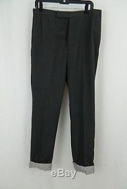 Thom Browne Gray & Black Pinstripe Wool Tapered Leg Pants Trousers Men's 33 X 30