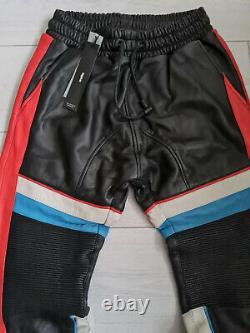 Tigha Herren Leder Jogger Hose Woodrow Black/Racing Red Größe M