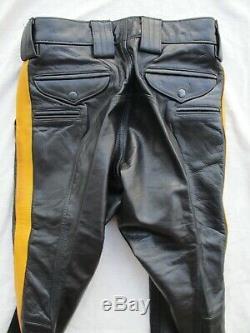 Tino New York black yellow stripe leather police uniform slim pants 30 $600