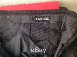 Tom Ford Mens $1100 Black/ Grey Plad 100% Wool Pants Sz. 52/36 Nwtag Swiss