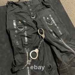 Tripp NYC Men's XS Grunge Pants Zip Off Shorts Cargos Goth Vintage Hand Cuffs