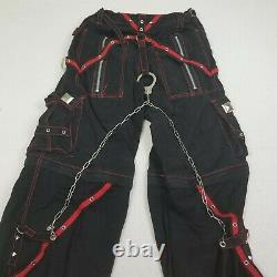 Tripp NYC Pants Medium Black Red Zipper Shorts Goth Punk Rave Cuffs Chain Skull