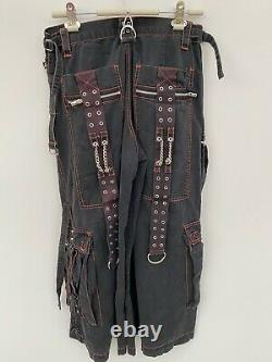 Tripp nyc pants men Medium Black Orange Wide Leg Goth Rave Zipper Bondage Punk
