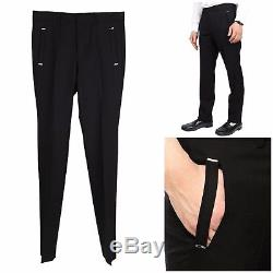 UltraRare&Great Givenchy SS16 Brass Insert Slim Fit Solid Black Pants /Trousers