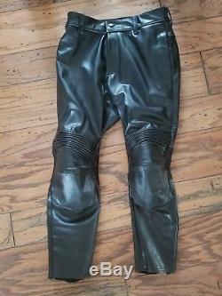 Vanson Black Steerhide Leather Motorcycle Pants 34