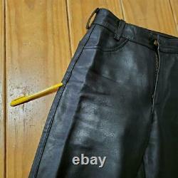 Vanson Leather Pants Men's 30 Black Straight Slim Biker TALON Zip From Japan