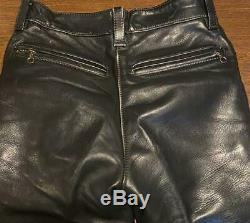Vanson Leather Pants Men's Size 30 Black Vintage Old Genuine From Japan USED