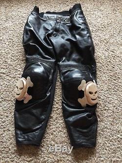 Vanson USA Leathers Skull Racer Motorcycle Biker Leather Pants Sz 34