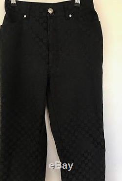 Versace V2 black monogram trousers, tailored waist 28, size 4,6-8
