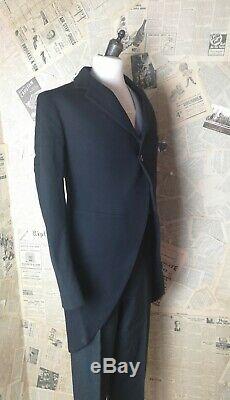 Vintage 1930s mens suit, 3 pcs suit, tailcoat, fishtail trousers, waistcoat