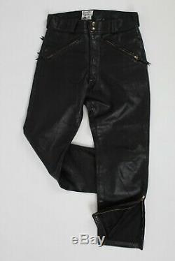 Vintage 60s Langlitz Black Leather Motorcycle Biker Racing Pants Mens 34 x 29