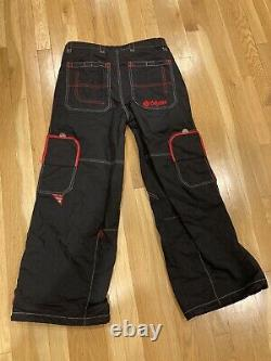 Vintage 90s Caffeine 007 Black/Red Skate Pants Rave Sz M Mens Rare Skater