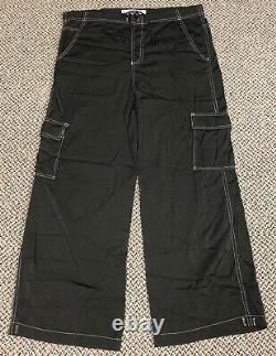 Vintage 90s Y2K Kikwear Baggy Rave Wide Leg Pants Nylon USA Made Size Small
