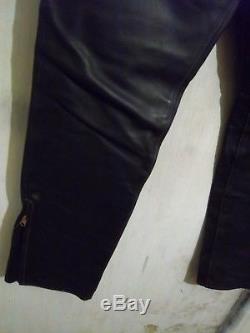 Vintage Aero Leather Steerhide Motorcycle Jeans Trousers Size 34 Riri Talon Zip