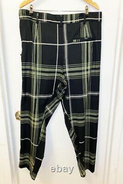 Vivienne Westwood Men's Mint/Black Tartan Alcoholic Trousers M (Waist = 35)