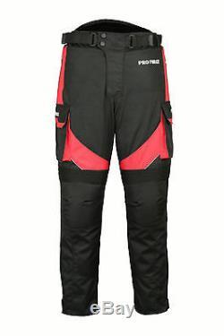 Waterproof Motorcycle Motorbike Suit Cordura Jacket Trouser Gloves Boots Red Set