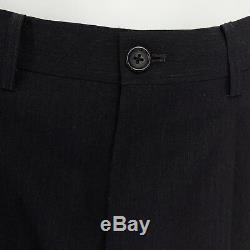 Y's FOR MEN YOHJI YAMAMOTO 100% wool black pinstripe pleated front wide pants M