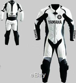 YAMAHA RACING 1Pc & 2pc suits black / white leathers custome made trouser&Jacket