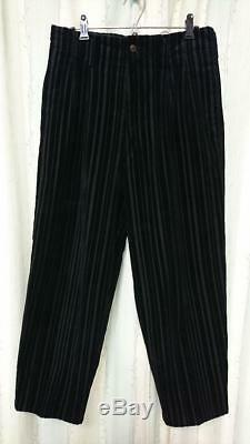 Yohji Yamamoto Pour Homme Corduroy Wide Pants Men Medium Black Striped Japan F/s